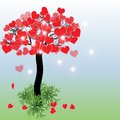 Tree with hearts valentines day background or greeting card vector illustration Stock Image