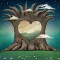 Tree hollow heart. Royalty Free Stock Photo