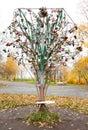 Tree with honeymooners locks in park Royalty Free Stock Photo
