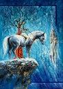 Tree-horseman on a horse Royalty Free Stock Photo