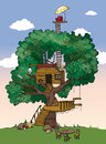 Tree house colorful cartoon with background Royalty Free Stock Photography