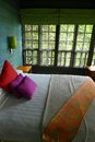 Tree house interior, eco tourism resort Stock Photos
