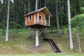 Tree house remote wooden in the forest Royalty Free Stock Photo