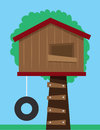 Tree house with tire swing Stock Images