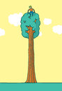 Tree hugger sitting on top enjoying nature cartoon illustration of Stock Image