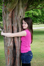 Tree hugging  Stock Photo