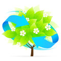 Tree icon with blue arrows and flowers Royalty Free Stock Image
