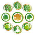 Tree icon collection Stock Photos
