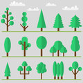 Tree icon set with clouds and grass. Vector illustration