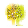 Tree icon, vivid colors, freehand drawing Royalty Free Stock Photography