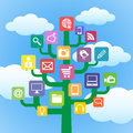 Tree with icons gadgets and computer symbols. Stock Photography