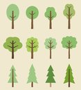 Tree icons icon set cute trees cartoon illustration nature collection Royalty Free Stock Images