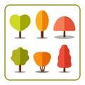 Tree icons set autumn 1