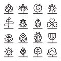 Tree icons in thin line style