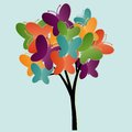 Tree illustration abstract with butterflies Stock Images