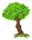 Tree illustration an of a bright green with grass around the trunk Stock Photos