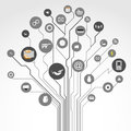 Tree illustration circuit board shape and social media icons Royalty Free Stock Photos