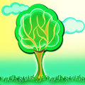 Tree illustration with grass and blur clouds on background Royalty Free Stock Images