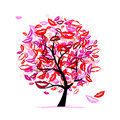 Tree of kisses with lips and smiles Stock Photo