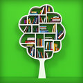 Tree of knowledge bookshelf on white background d Royalty Free Stock Images
