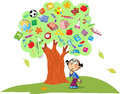Tree of knowledge the illustration shows the instead leaves shows the attributes and items for school under the is a child lost in Royalty Free Stock Image