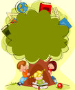 Tree of knowledge schoolchildren under the place for text Royalty Free Stock Photo