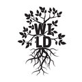 Tree, leafs, roots, and text WILD
