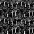 Tree without leaves on black background seamless floral pattern isolated branches isolated white plant texture forest Royalty Free Stock Photo