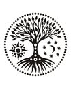 The tree of life in the solar circle. Mandala. Spiritual Symbol
