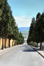 Tree lined street in osuna spain going downhill with a view of the valley Stock Image