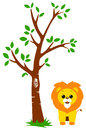 Tree and Lion Stock Photo
