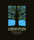 Tree logo. nature, ecology icon. stained glass window vector illustration
