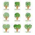 Tree logo - Squares, circles and hearts leaf style vector set design