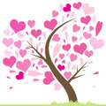 Tree of love beautiful abstract with hearts heart greeting card illustration valentine leaf from hearts Stock Image