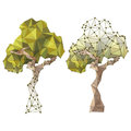 Tree in low poly style trees Stock Photo