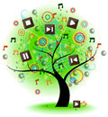 Tree of music vector a big with symbol on the branches create by Royalty Free Stock Photos