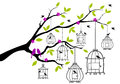 Tree with open birdcages, vector Stock Photography