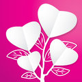 Tree of paper heart on pink background Stock Photography