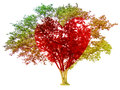 Tree pastel colored gradient and red heart-shaped isolated on w Royalty Free Stock Photo