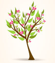 Tree with pink hearts Royalty Free Stock Image