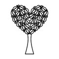 Tree plant with heart ecological icon