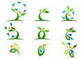 Tree,plant,people,water,natural,logo,health,sun,leaf,ecology,symbol icon design vector set Royalty Free Stock Photo