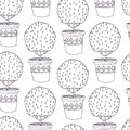 Tree in a pot pattern seamless Stock Image