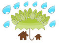 Tree protect home illustrattion in the environment concept Stock Image