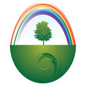 Tree and rainbow Royalty Free Stock Images
