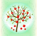 Tree with red apple, summer theme on abstract green background, symbol of  crop Royalty Free Stock Photo