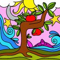Tree with red apples drawing Stock Photography