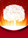 Tree with red star burst. EPS 8 Stock Photos
