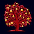 Tree with ripe apples harvest season theme illustration fruitf fruitfulness and fertility idea symbolic image Royalty Free Stock Photos