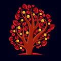 Tree with ripe apples harvest season theme illustration fruitf fruitfulness and fertility idea symbolic image Stock Photography